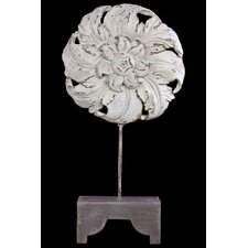 Resin Floral Art Decor on Wooden Stand Light Gray