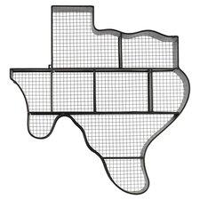 Metal Texas Map Wall Shelf Black