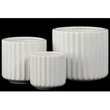 3 Piece Porcelain Short Round Flower Vase Set