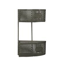 Metal Corner Shelf with 2 Tiers, Perforated Sides and 2 Card Holders