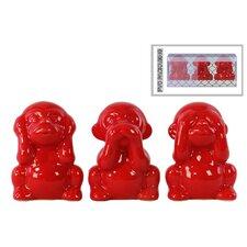 3 Piece Ceramic Monkey Figurine Set