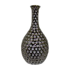 Ceramic Vase with Neck and Round Belly LG Dimpled Chrome Silver