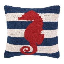 Nautical Hook Seahorse Stripe Throw Pillow