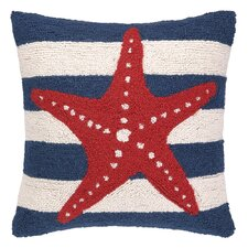 Nautical Hook Seastar Stripe Throw Pillow