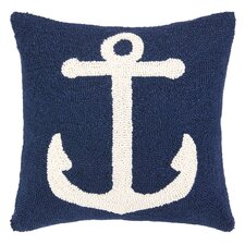 Nautical Hook Anchor Wool Throw Pillow