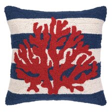 Nautical Hook Coral Stripe Throw Pillow