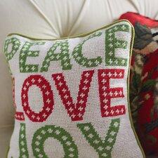 Needlepoint Peace Love Joy Wool Throw Pillow
