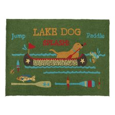 Dog in Lake with Paddle Hook Green Area Rug