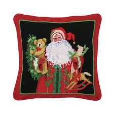 Needlepoint Holly and Ivy Santa Wool Throw Pillow