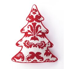 Needlepoint Toile Tree Shaped Wool Throw Pillow