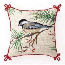 Needlepoint Chickadee Wool Throw Pillow