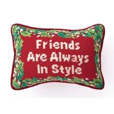 """Needlepoint """"Friends"""" Wool Throw Pillow"""