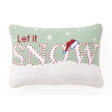 "Needlepoint ""Let it Snow"" Wool Throw Pillow"