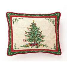 Hook Classic Christmas with Berry Needlepoint Wool Throw Pillow