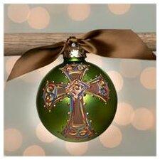 Bold Cross Glass Ball Ornament