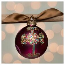 Curly Cross Glass Ball Ornament