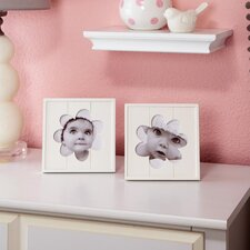 2 Piece Flower Baby Picture Frame Set