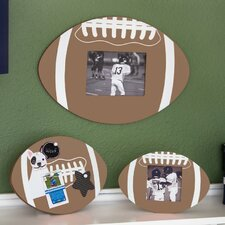 3 Piece Soft Wood Football Picture Frame and Corkboard Set