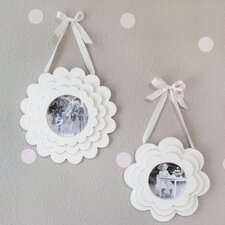 2 Piece Layered Flower Wood Hanging Picture Frame Set
