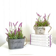 2 Piece Silk Plants in Planters Lavender Flower Arrangement Home Décor Set