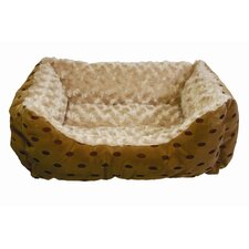Polka Dot Cuddler Bolster Dog Bed with Swirl