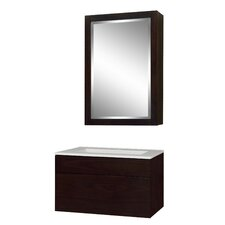 "Modesta Walnut 24"" Single Bathroom Vanity Set with Integrated Sink"
