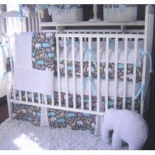 Blue Animal Cookies 4 Piece Crib Bedding Set