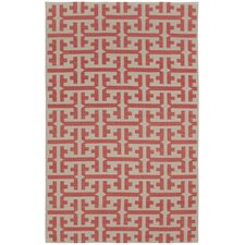 Grecian Apricot Orange Geometric Area Rug