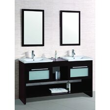 "61"" Double Bathroom Vanity Set with Mirror"