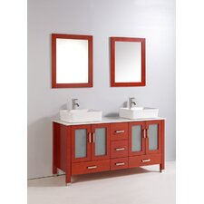 "59"" Double Bathroom Vanity Set with Mirror"