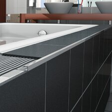 "Cubeline 96"" x 1"" Counter Rail Tile Trim in Aluminum Shiny Silver Anodized"