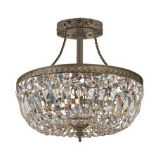 Traditional Crystal 3 Light Semi Flush Mount