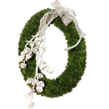 Faux Cedar Oval Wreath Accent with Snow Covered Pinecone Branch