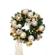 Christmas Balls on a Faux Pine Wreath