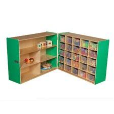 Tray and Shelf Fold Storage Unit with 25 Clear Trays