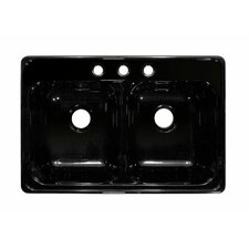 "Deluxe 33"" x 22"" Designer Double Bowl Self-Rimming Kitchen Sink"
