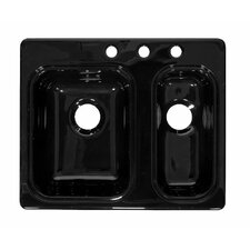 "Deluxe 25.88"" x 21.38"" Designer Double Bowl Self-Rimming Kitchen Sink"