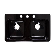 "Deluxe 29"" x 17"" Designer Double Bowl Self-Rimming Kitchen Sink"