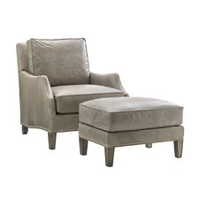 Oyster Bay Leather Arm Chair and Ottoman