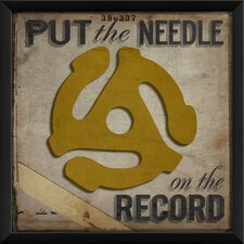 Put the Needle on the Record Framed Graphic Art in Yellow