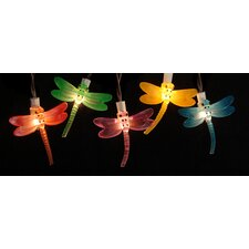 10 LED Battery Operated Dragonfly Garden Patio Umbrella Light String with Timer (Set of 10)