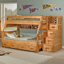 Twin Over Full Standard Bunk Bed with Trundle and Stairway Chest