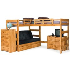 Twin Storage L-shaped Futon Triple Bunk Bed Customizable Bedroom Set