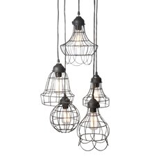 Wire 5 Light Pendant in Black