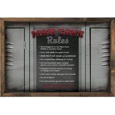 Magnet Art Print Man Cave Rules Framed Wall Art