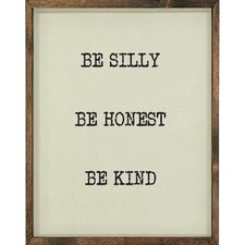 Be Silly Framed Textual Art