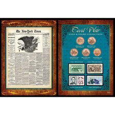 New York Times Civil War Coin and Stamp Collection Wall Framed Memorabilia