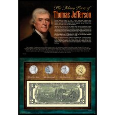 Many Faces of Thomas Jefferson Coin and Currency Wall Framed Memorabilia