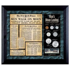 New York Times Man Lands on the Moon Coin and Stamp Wall Framed Memorabilia