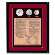 U.S. Constitution with All 3 Bicentennial Coin Wall Framed Memorabilia